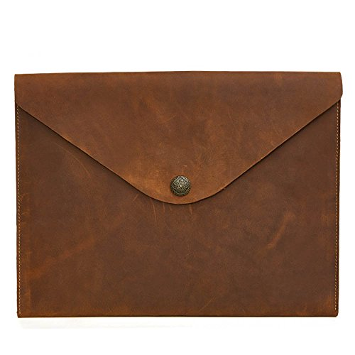 (European Style Leather Messenger Casual Bag Briefcase IPad A4 File (Color : Brown))