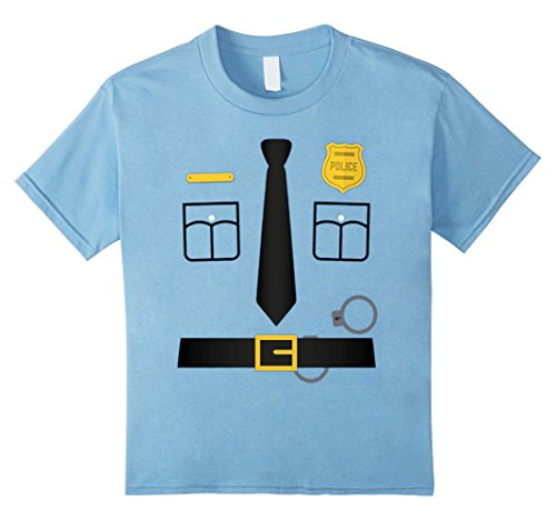 [Kids Police Uniform Costume Halloween T-Shirt - Kids to Adult 4 Baby Blue] (Police Costume Shirt)
