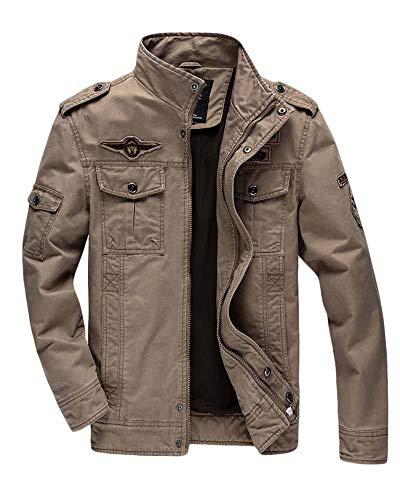 Kaki Blouson Militaire Veste Col Casual Style Montant Armée Homme Classique Quge YaOgvn