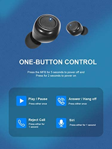 AMBW Bluetooth 5.0 True Wireless Earbuds,with Charging Case 20H Playtime TWS Headphones IPX5 Waterproof in Ear Built in Mic Headset Premium Sound with Deep Bass for Sport Black