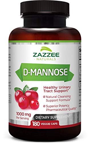 (D-Mannose 180 Veggie Capsules | 1000 mg per Serving | Fast-Acting | Higher, Extra Strength Dosage | Vegan | All-Natural, Potent, and Lasting Urinary Tract Support)
