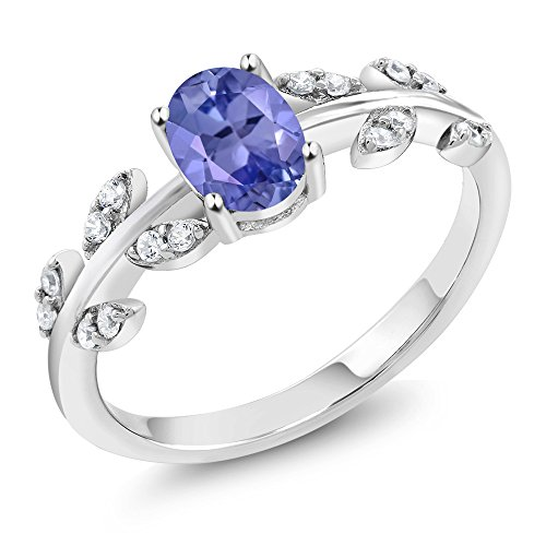 0.86 Ct Oval Blue Tanzanite White Diamond 10K White Gold Olive Vine Ring by Gem Stone King