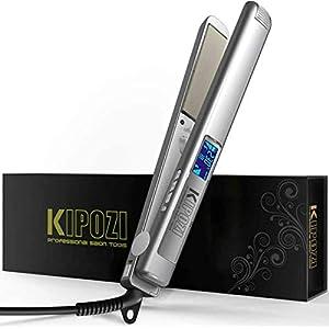 KIPOZI Pro Lisseur Cheveux, Fers à lisser en nano-titane avec affichage numérique LCD, Double Tension, Argent
