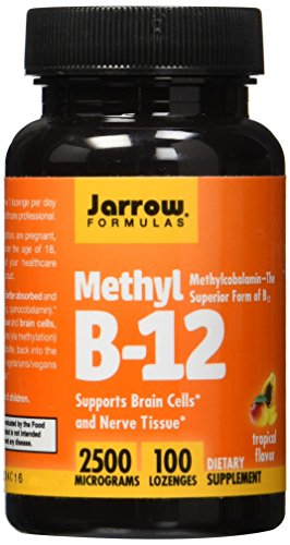 Jarrow Formulas Methyl B-12,Supports Brain Cells and Nerve Tissue, 2500 mcg, 100 Lozenges - Jarrow B-12 Vitamins