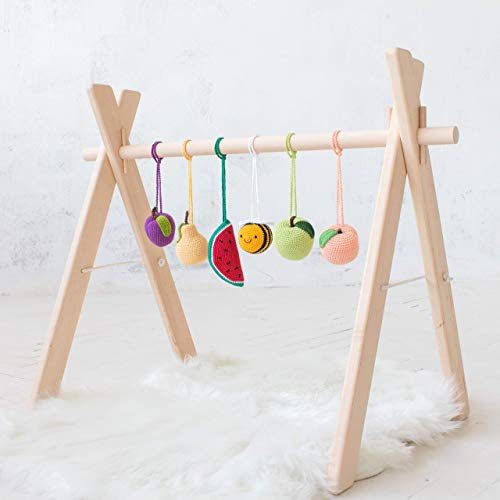 Bee and fruits Baby play gym. Wooden gym frame with 6 crochet mobiles rattles by LanaCrocheting