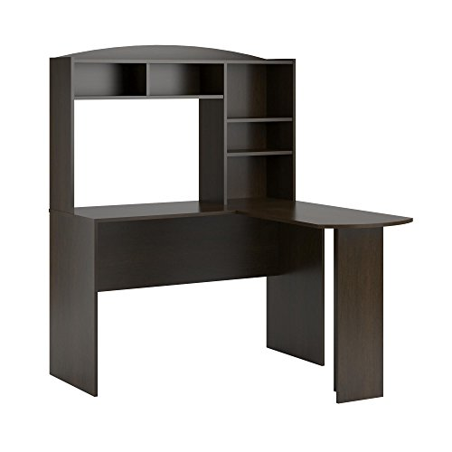 Altra Furniture Dakota Space Saving  L Desk with Hutch, Dark Russet Cherry - Brown Computer Furniture