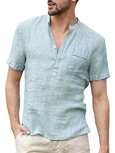 Enjoybuy Mens Summer Linen Henley Shirts Short Sleeve Banded Collar Casual Beach Shirt Tops Mint