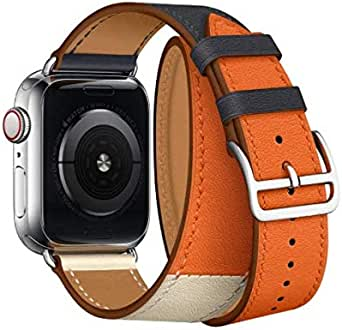 Leather strap For apple watch 42mm 44mm band iwatch series 4 3 2 Double ring watchband bracelet