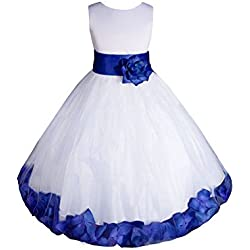AMJ Dresses Inc Big-Girls' White/Royal Blue Flower Girl Dress E1008 Sz 10