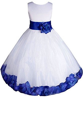 AMJ Dresses Inc Big Girls' White/royal Blue Flower Dress E1008 Sz - Pageant Dress Girl Blue Flower