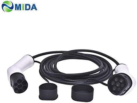 ETE ETMATE Cable de Cargador EV Tipo 2 a Tipo 2 (16Amp, trifásico) Cable de Carga para vehículos eléctricos (IEC62196-2, 11KW, 5M / 17 pies)