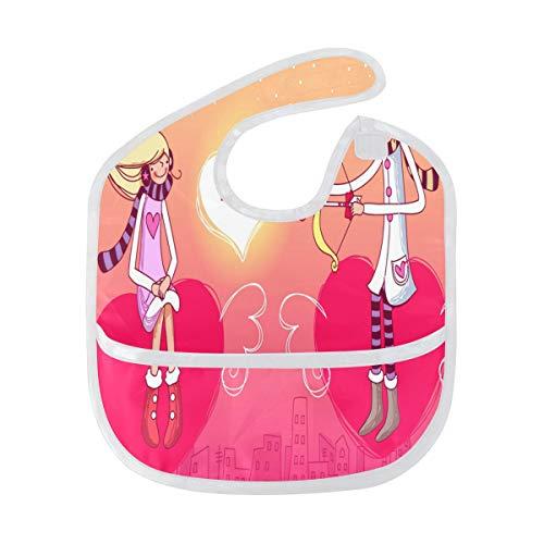 Baby Bibs Valentine's Day Cartoon Wallpaper Large Teething Bibs for Girls Toddler Bib/Smock