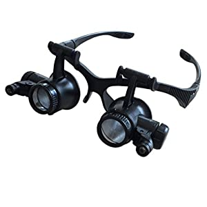 Binocular Magnifier Glasses With Led Light 10X 15X 20X 25X Headband Double Eye Watch Repair Magnifier Eyewear Loupe Jeweler Magnifying Glasses Tool Set For Jewelry Appraisal