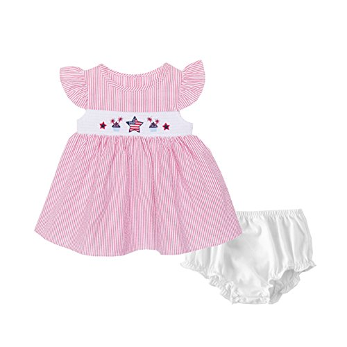Good Lad Red Seersucker July 4th Smocked Sundress (24M) -