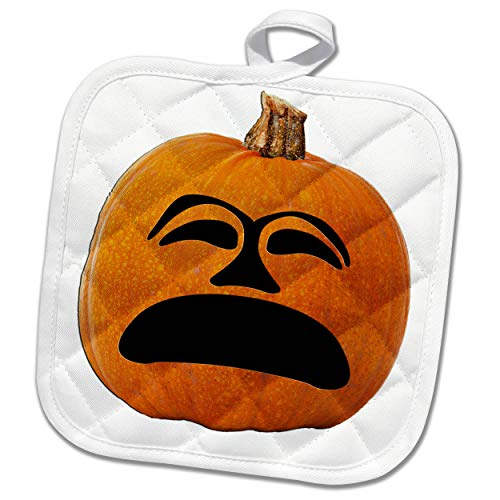 (3dRose Sandy Mertens Halloween Food Designs - Jack o Lantern Unhappy Sad Face Halloween Pumpkin, 3drsmm - 8x8 Potholder)