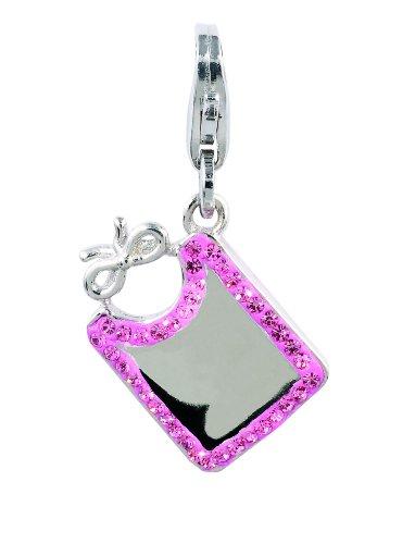 Amore & Baci Charming Life Silver Baby Bib with Pink Stones Charm - Fits On Thomas Sabo Giorgio Martello and Ti Sento