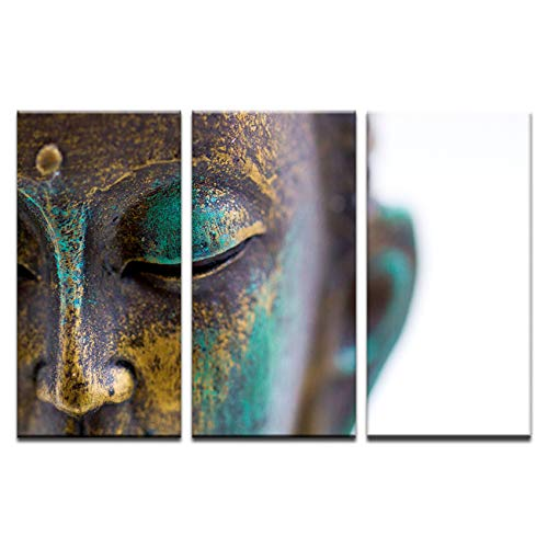 NATVVA Wall Art Decor Poster Painting On Canvas Print Buddha Statue Face Painting 3 Panels with Wooden Framed Picture for Home Decoration Living Room Artwork