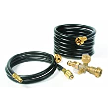 Camco 59123 RV Propane Brass Tee with 4 Ports and Extension Hose