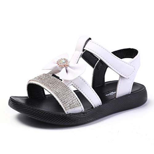 - Girls Summer Beach Sandals, Infant Baby Sole Anti-Slip Sneakers Cute Sweet Crystal Bowknot Evening Princess Shoes White