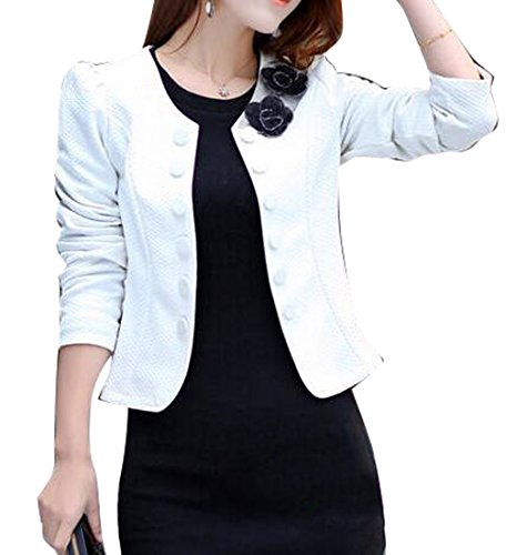 ve Double-breasted Solid Short Blazer Jacket White XL ()
