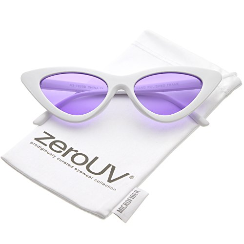 zeroUV - Womens Exaggerated Slim White Frame Color Tinted Lens Cat Eye Sunglasses 48mm (White / - Lens Tinted
