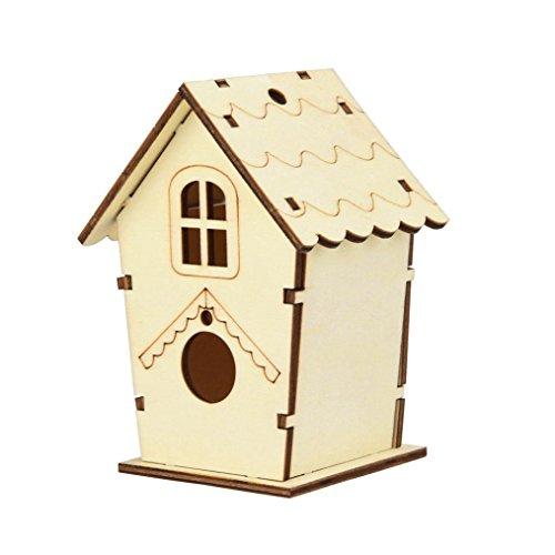 Yeefant 1Pcs Creative Assembled DIY Nest Bird House Wooden Outdoor Box,0.36x0.30 Ft -