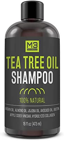 M3 Naturals Tea Tree Oil Shampoo Infused with Biotin Collagen and Essential Oil for Dry Itchy Flaky Scalp Prevent Thinning Hair and Head Lice Hydrating Anti Fungal Anti Bacterial Sulfate Free 16 oz