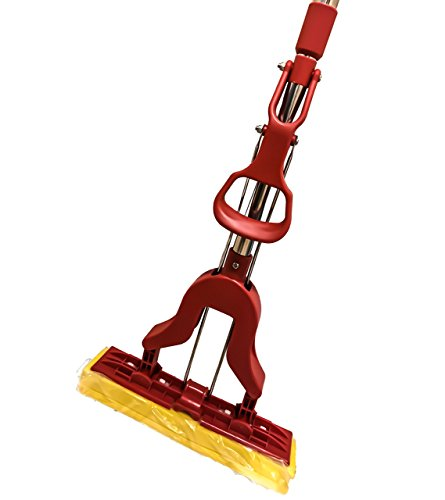 American Market Super Absorbent Wet Sponge Mop With Telescopic Extendable Handle That Extends From 35'' to 49'' Long. Perfect Floor Mop For Mopping Your Home, Kitchen, Bathroom, Tile, Windows (Red) Plastic Janitor Broom