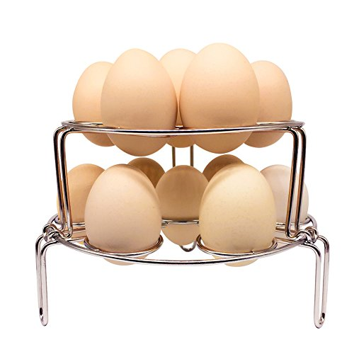 Steamer Rack for Instant Pot, NeoJoy Stackable Egg Vegetable Pressure Cooker Steam Rack, Stainless Steel Food Basket Stand, 2 piece