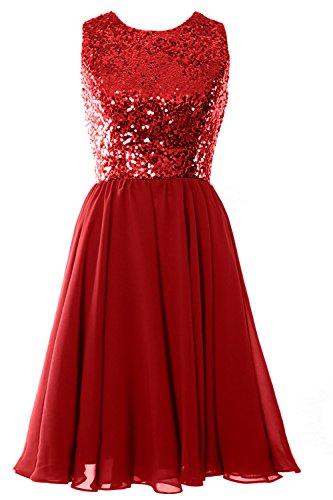 MACloth Women O Neck Short Bridesmaid Dress Sequin Chiffon Cocktail Evening Gown Rojo
