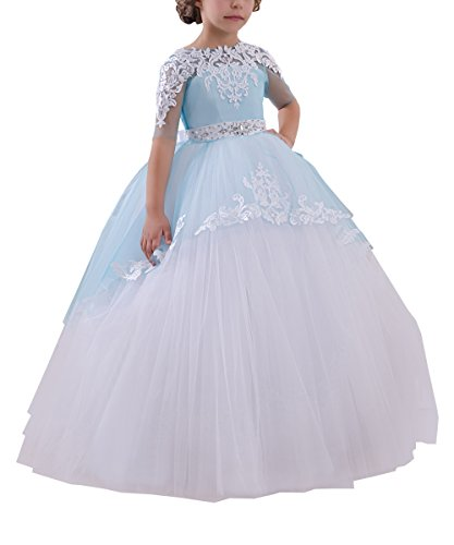 Abaowedding Flower Girls Long First Communion Dresses Kids Pageant Prom Ball Gowns(Size 8,Blue)