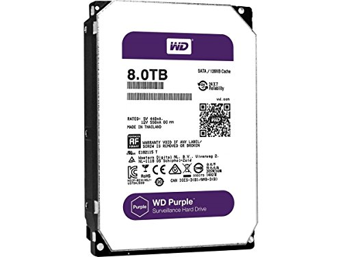 WD Purple 8TB Surveillance Hard Disk Drive - 5400 RPM Class SATA 6 Gb/s 128MB Cache 3.5 Inch - WD80PUZX [Old Version]