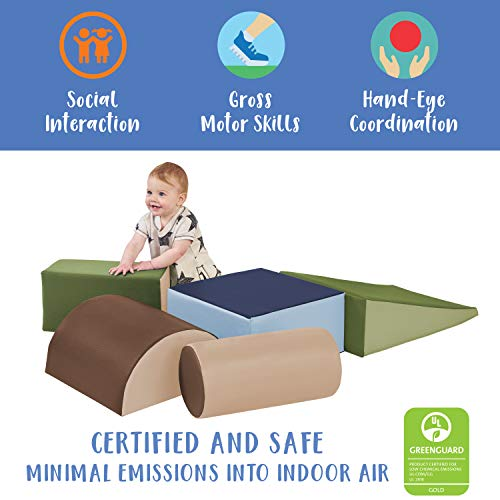 41YMqctjTmL - ECR4Kids SoftZone Climb and Crawl Activity Play Set, Lightweight Foam Shapes for Climbing, Crawling and Sliding, Safe Foam Playset for Toddlers and Preschoolers, 5-Piece Set, Earthtone