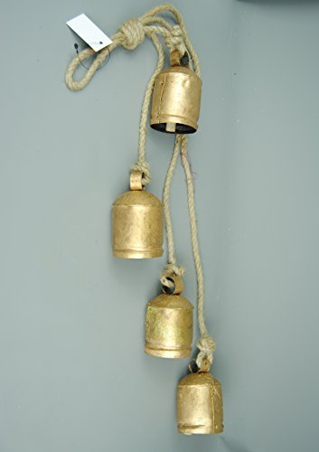 (Giant Cow Bells Set of 4 Hanging on Rustic Rope)