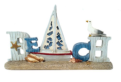 Coastal Beach Decor Table Top Word Sign with Seagull and Sea Shell Accents (Beach)