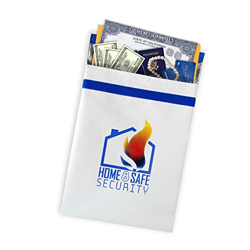 HSS XL Fireproof Safe Document Bag (16x12). NON-ITCHY   Triple Layer   Zipper Closure   Silicone Coated   Fire Resistant Envelope Pouch for Money and Valuables