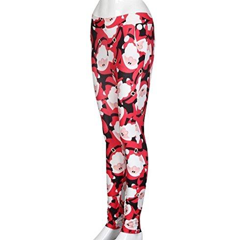 Tongshi Moda Mujer Navidad Skinny Printed Stretchy Pantalones Leggings rojo