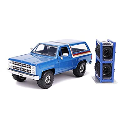 1980 Chevrolet Blazer Blue Metallic with Stripes with Extra Wheels Just Trucks Series 1/24 Diecast Model Car by Jada 31396: Toys & Games