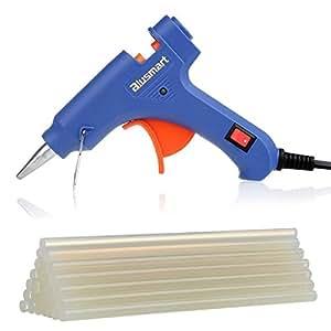 Blusmart Mini Pistola de silicona on 25 piezas Barras de pegamento Alta temperatura kit de pistola de pegamento una alternativa flexible para pequeños proyectos de bricolaje, empaques, reparaciones rápidas y limpias en casa y oficina (20 vatios, azul)