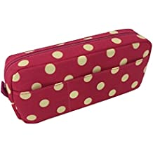 Blue Monaco Cute Pencil Case for Girls - Pen Pouch - Makeup Bag - Pink with Yellow Polka Dots - 8 Inch By 4 Inch