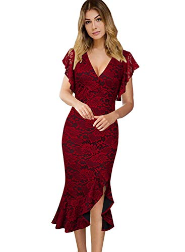 - VFSHOW Womens Elegant Ruffles Cocktail Party Mermaid Wiggle Midi Dress 1721 RED M