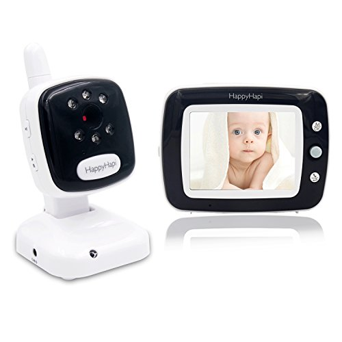 [2018 UPGRADED] Best Video Baby Monitor -  HappyHapi 3.5'' LCD Display, Digital Camera, Infrared Night Vision, Two Way Talk, Temperature Monitoring, Lullabies, Long Range and High Capacity Battery
