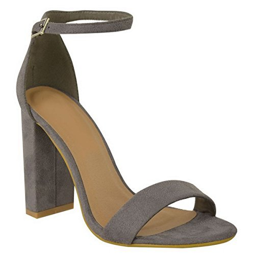 Miss Image UK Ladies Womens New Barely There Block Heel Open PEEP Toe Ankle Strap PATY Prom Evening Sandals Shoes Size Grey Faux Suede