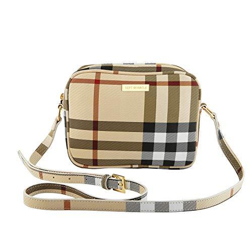 (SEPT MIRACLE WomenGirls Cross body Bags Shoulder Bag Travel Purse Lightweight Classic ModernPU Leather Bag (Plaid))