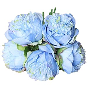 Anlise 5 Heads Artificial Peony Flowers 1 Bouquet Silk Fake Flower for Home Bridal Wedding Party Festival Bar Décor (Blue) 9