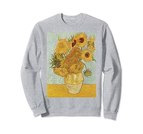 Unisex Vincent van Gogh's Sunflowers Retro Sweatshirt Medium Heather Grey (Retro Jumper)