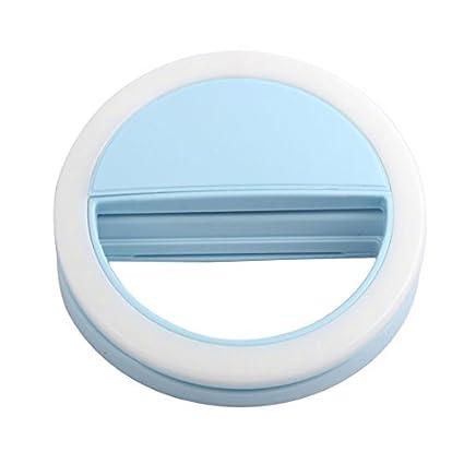 eDealMax Cámara de fotos Smartphone Selfie Noche usando Mejora regulable portátil Flash LED Azul claro