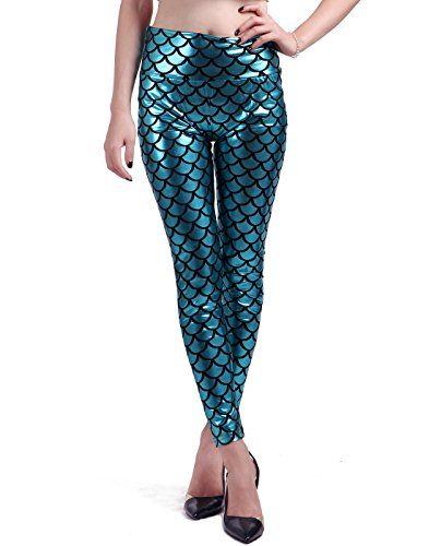 HDE Mermaid Leggings Liquid Metallic