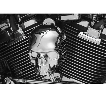 Skull Horn Cover (Kuryaykn Chrome Skull Horn Cover for Harley 2017-2018 H-D Models with Stock Waterfall Style)