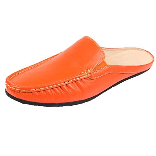 Santimon Menn Mannlig Mykt Ekte Skinn Tøfler Fritid Slip-on Loafers Tøfler 112-orange